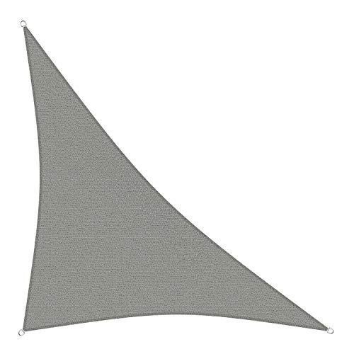 sunprotect 83291 Professional Sonnensegel, 5 x 5 x 7 m, 90° Grad Dreieck, Wind- & wasserdurchlässig, grausilber