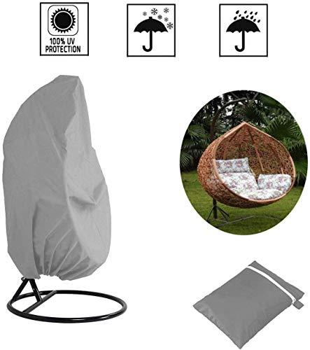 Cratone 210D Oxford - Cubierta protectora para sillón colgante de sillón colgante, anti UV, impermeable, organizador con cordón, gris, 190 x 115 cm, gris