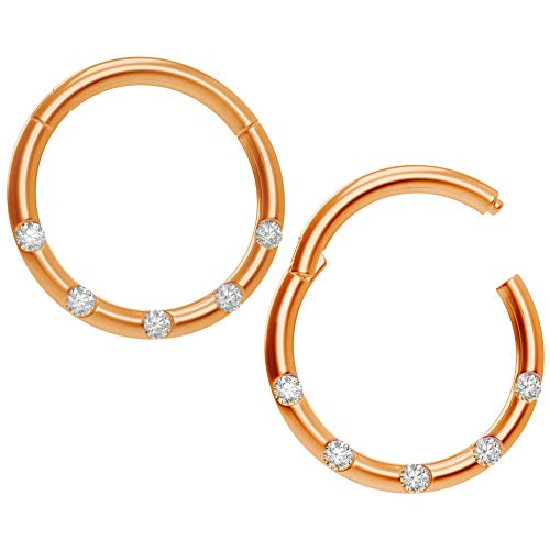2 x 1mm Roségold Cubic Zirconia Kristall Eloxierter Chirurgenstahl Kliker Click Ring Segment Nasen Helix Cartilage Tragus Piercing 8mm