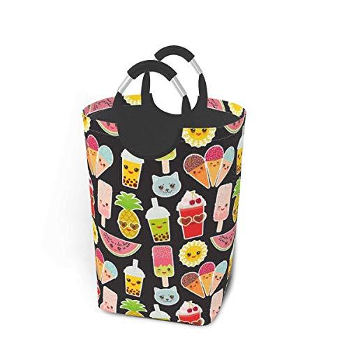 IUBBKI Cesto de lavandería con Leche, té, Paleta de sandía con diseño de Animal Divertido, cesto de lavandería, Bolsa de Ropa Sucia, Escamas de arcoíris