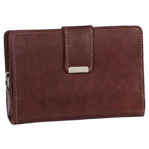RFID Damen Leder Geldbörse Damen Portemonnaie Damen Geldbeutel - Farbe braun - Geschenkset + exklusiven Ledershop24 Schlüsselanhänger