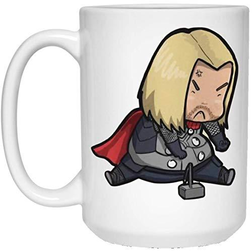 N\A Avengers Endgame Chubby Chibi Angry Thor Taza de café - 11 oz Regalo Blanco para Amigos Fans Hijo Hija Niños Neice Sobrino en Navidad Cumpleaños Acción de Gracias Pascua Año Nuevo