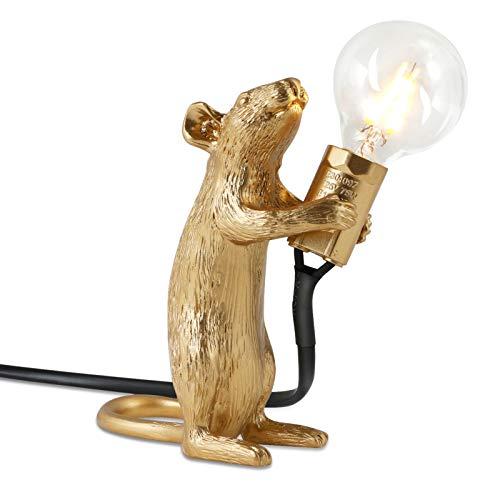 Tischlampe in Mausform - Syfinee Harz Schreibtischlampe LED, 3 verschiedene Posen und Farben, Zuckerguss-Prozess Tischlampe Vintage Sehr Gut Geeignet für Schlafzimmer, Wohnzimmer, Babyzimmer, Büro