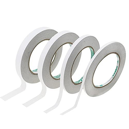 DXLing 4 Rolls Doppelseitiges Klebeband Stark Papier Klebestreifen Doppelseitig 5mm 8mm 10mm 15mm Klebeband Doppelseitig 40 Meter pro Rolle für Scrapbooking DIY Handwerk Büro