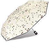 CUBY Regenschirm Taschenschirm Automatik Wasserabweisend Klein Leicht Kompakt Regenschirm Sturmfest Teflon-Beschichtung Stabil(Vierfarbige Blume)(Blauer Griff)