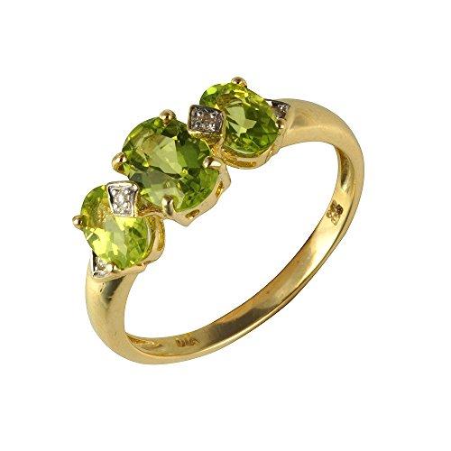 Bague - 181R3997-05 - Anillo de mujer de oro amarillo (9k) con 3 diamantes y peridotos (talla: 16.5)