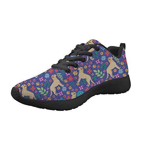 Nopersonality Damen Casual Sportschuhe Leichte Gym Sneakers Fitness Turnschuhe Mesh Sport Schuhe Straßenlaufschuhe Print Labrador Blume (39 EU, Violett)