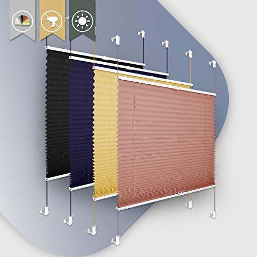 Buseu Plissee Klemmfix,Ziegelrot 100x130cm(BxH) Plisseerollo ohne Bohren,Verdickt & Easyfix Jalousie Lichtdurchlässig Rollo für Fenster & Tür