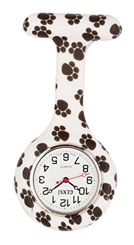 Censi Unisex Schwarz-Weiss Silikon-Krankenschwester Pocket FOB Watch Hund Pfotenabdruck Tunika Brosche Analoganzeige Japanische Quarzwerk