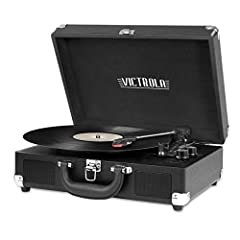 Three-speed turntable (33 1/3, 45, 78 RPM) plays all of your vinyl records and favorite albums Built-in Bluetooth to wirelessly play music from your Bluetooth enabled device. No cords needed. Portable suitcase design with easy carry handle 3.5mm Aux-...