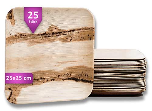 Waipur Bio Palmblattteller - 25 Teller Eckig 25x25 cm - Premium Einweggeschirr kompostierbar - Umweltfreundliches Partygeschirr - Palmblatt Geschirr