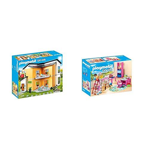 PLAYMOBIL City Life Casa Moderna, con Efectos de Luces y Sonido, a Partir de 4 Años (9266) + City Life Habitación Infantil, a Partir de 4 Años (9270)