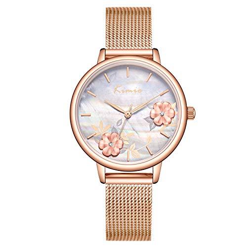 RORIOS Mujer Relojes de Pulsera Cuarzo Analogico Relojes para Dama Minimalismo Mesh Strap Flor Dial Moda Ladies Watches