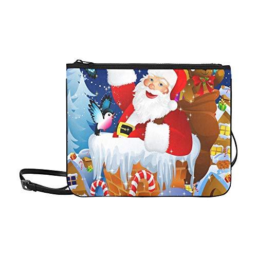 WYYWCY Weihnachtsmann Schornstein Custom High-Grade Nylon Slim Clutch Bag Umhängetasche Umhängetasche