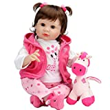 Aori Reborn Baby Doll 22 Inch Realistic Weighted Girl Dolls with Pink Deer Clothes and Toy Accessories