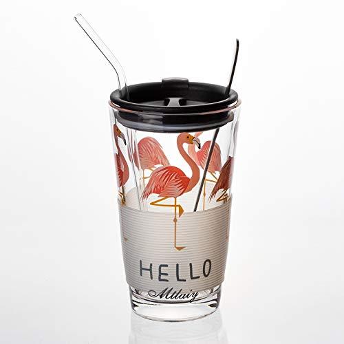 HYKJ Koreanische kreative Glas Stroh Wasser Tasse ins Schwangere Frauen Kinder Skala Tasse Süßwasser Tasse Milchglas