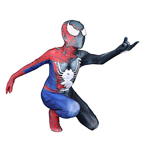 DANNEL Halloween Half Raimi Half Venom Spider Cosplay Bodysuit Polyester Zentai Suit Kids M