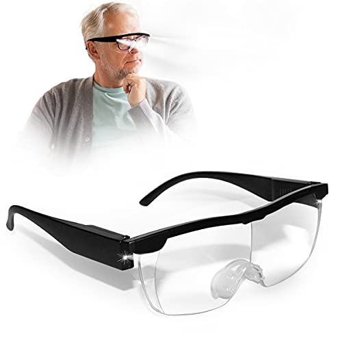 Aooeou Vergrößerungsbrille mit Licht Lupenbrille für Brillenträger LED Lesebrillen Batterie Hände Frei Blaulichtfilter,5 Ersatzbatterien,Lesen,Nähen,Reparatur,Senioren (Optische Vergrößerung auf 250%)