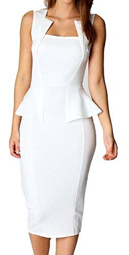 Ourfashion Bodycon Midi or Mini Peplum Dress with Square Neckline White X-Large