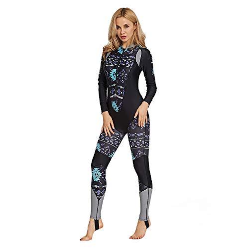 Tauchanzug Damen Zip Fron Damen Siamese Sonnencreme Langarm Badeanzug Übergröße Schnorchelanzug Surfkleidung Quallenkleidung Surfen Tauchen Bodyboarding (Color : Black, Size : XXL)