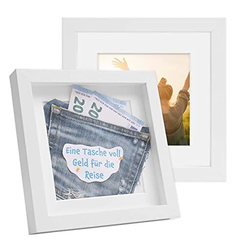 Photolini Set di Due cornici per Foto, riquadri per Oggetti, da 20x20 cm, 3D, Bianche, Moderne, Profonde, in MDF, con passe-partout e lastra di Vetro/Cornici per fotografie
