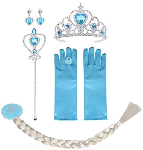 Vicloon ELSA Prinzessin Kostüme, enthält EIN ELSA Handschuhe, Tiara Braid, Zauberstab, Prinzessin Krone, Ohrringes, Ringe, Geeignet für Mädchen von 2-9 Jahren - Set of 8, Blau