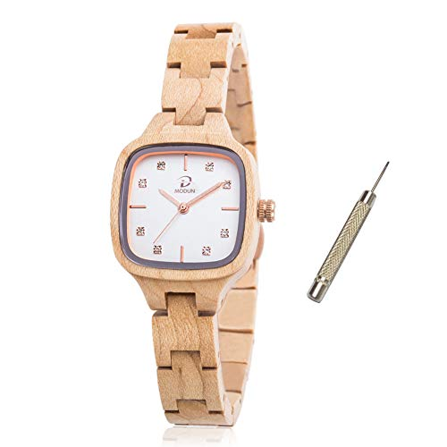 Wooden Watch Women, 100% Handmade Super Light Quartz Rectangle Wood Watch for Girls, Adjustable Bracelet Band Natural Maple Wooden Wrist Watch with Gift Box (Maple Wood)