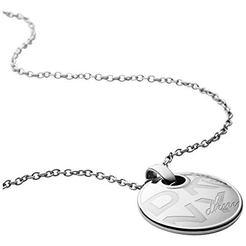 DKNY Damen-, Edelstahl Halskette, Rund Poliert 3,4cm Anhänger Logo Detail der Länge 44cm (+ 5cm Verlängerung)