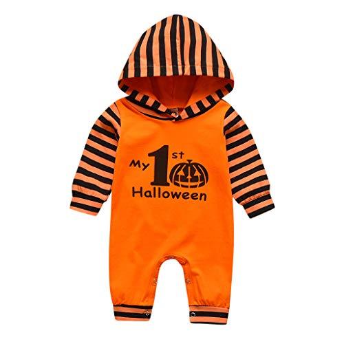 Janly Liquidación Venta 0-24 Meses Bebé Mameluco Bebé Niñas Niñas Niños Halloween Calabaza Ropa Bebé Mameluco Traje Traje de 9-12 Meses (Naranja)
