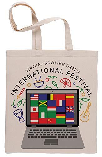 Virtual International Festival Wiederverwendbar Einkaufstasche Reusable Beige Shopping Bag