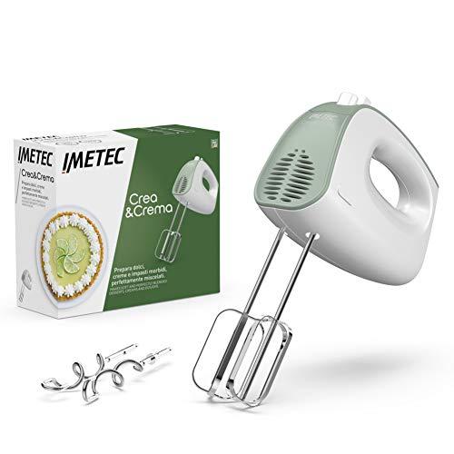Imetec Batidora Amasadora eléctrica Crea&Crema, Varillas extra largas para mezclas para masas...