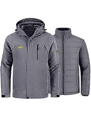 Wantdo Men's 3-in-1 Jacket Waterproof Insulated Winter Coat for Camping Grey M