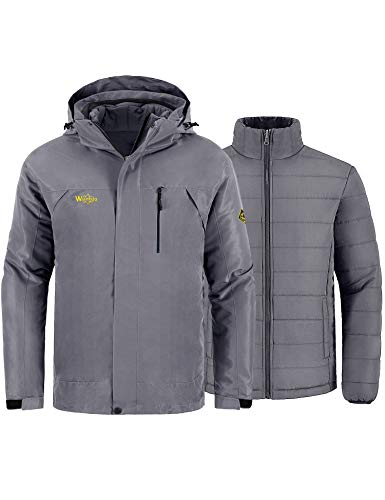 Wantdo Men's 3-in-1 Jacket Waterproof Insulated Winter Coat for Camping Grey M