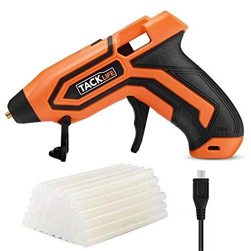 TackLife Glue Gun With USB charge & 45 PCS Glue Stick, 3.6V Classic Glue Gun, 2600mAh-18650 USB Rechargeable Li-ion Battery