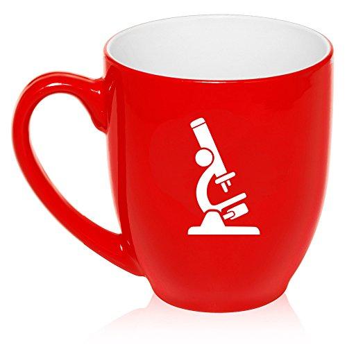 16 oz Large Bistro Mug Ceramic Coffee Tea Glass Cup Microscope Laboratory Professional (Red)