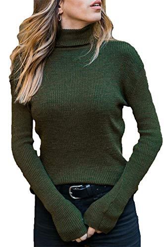 Hezeisoar Donna Maglione Collo Alto Elegante Maniche Lunghe per Inverno Pullover Accollato Dolcevita Maglia a Maglieria Elasticizzata EU S = Etichetta M
