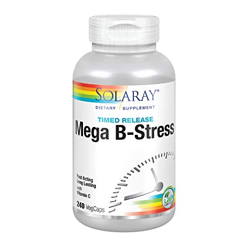 Solaray Mega Vitamin B-Stress, Two-Stage Timed-Release | Specially Formulated w/B Complex Vitamins for Stress Support | Non-GMO | Vegan (240 CT)