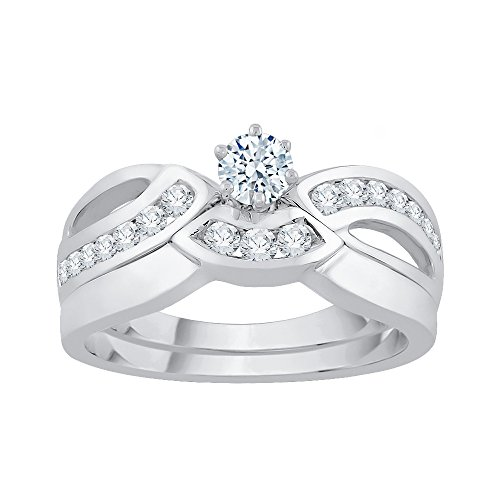 KATARINA Diamond Bridal Set in 14k White Gold (1/2 cttw, J-K, SI2-I1) (Size-8.5)