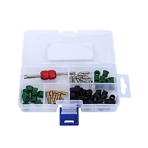 Kit surtido de herramientas para eliminar el núcleo de la válvula de aire acondicionado automático (10 núcleos de válvula + 50 juntas de manguera + 10 válvulas + 1 herramienta de extracción)