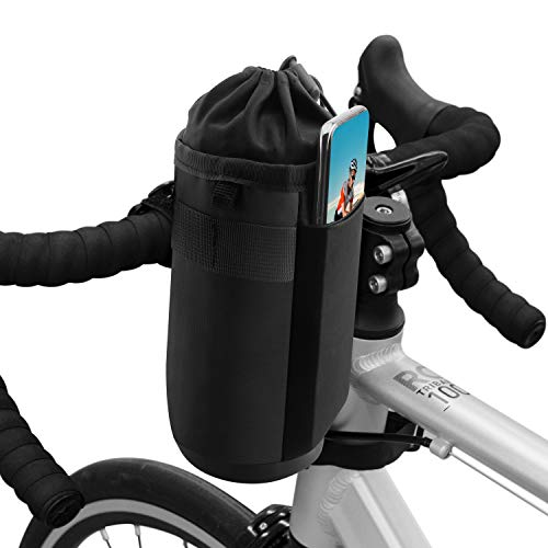 Suruid Fahrrad Wasserflaschenhalter Tasche, Fahrrad Lenker Cup Getränkehalter Isolierte Stiel Wasserflasche Tasche Fahrradrahmen Strap-On wasserdichte Aufbewahrungstasche für alle Fahrräder