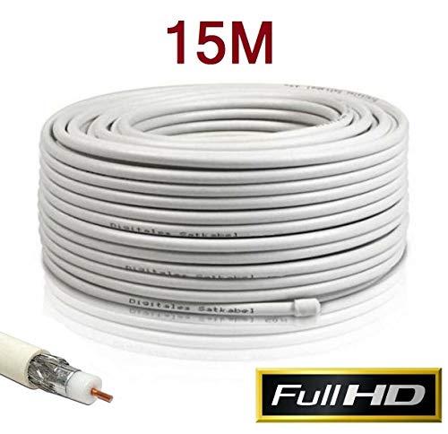 Cable Coaxial para Antena TV Bobina 15 Metros RG6U TDT Sat