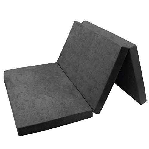 Fortisline - Colchón, de matrimonio, supletorio, plegable, para cama auxiliar de invitados, 195x80x9cm, color gris