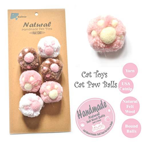 BALLMIE Cat Toys Ball Cat Owl Balls for Cats, Catnip Handmade Felt Wool & Yarn (Paw)