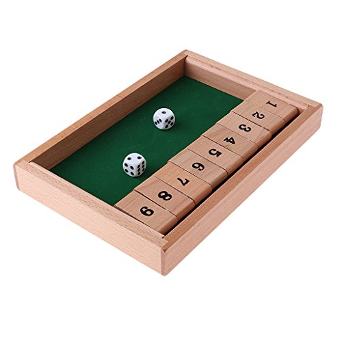 Baoblaze Shut The Box Spiel Holz Würfelspiel Klappenspiel Brettspiel Klappbrett für 2-4 Personen