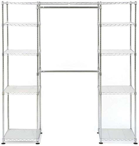 Seville Classics 14 Deep Heavy Duty Steel Wire Expandable Closet Organizer - Bedroom Space Saving - Free Standing Cloth Rack - Adjustable Height of Shelves Hanging-rods and Width - 10 Years Limited Warranty