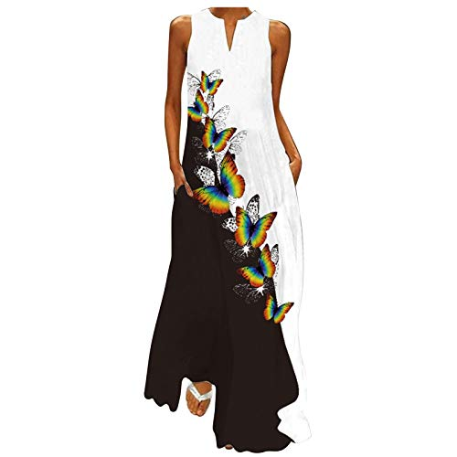Vestido de tobillo estampado de flores de mariposa para mujer, verano, talla grande, suelto, cuello redondo, sin mangas, casual, vestido largo