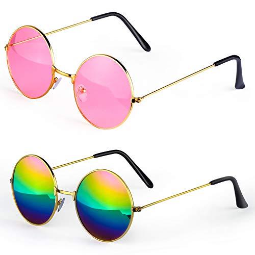 Haichen Hippie Retro Sonnenbrille 60er Jahre Style runde farbige Brille Kostümzubehör (A)