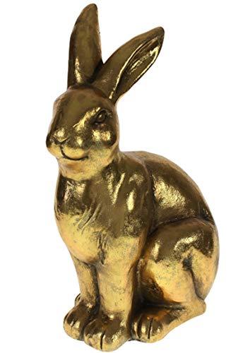 Bada Bing Hochwertiger Großer Hase Gold HBT Ca. 51,5 x 23 x 35 cm Wunderschöner Osterhase Dekohase Frühling Deko 94