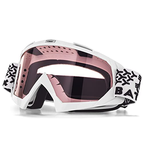 KINGBIKE Motorcycle ATV Goggles Dirt Bike Motocross Safety ATV Tactical Riding Motorbike Glasses Goggles for Men Women Youth Fit Over Glasses UV400 Protection Shatterproof (Pink)
