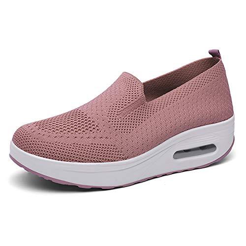 X-3, juventud, elegante, estilo moda, ocio grueso inferior señora zapatos, color Rosa, talla 40 EU